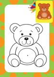 Coloring page. Bear toy Royalty Free Stock Images