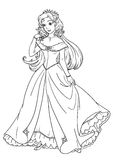 Coloring page with beautiful princess in pretty dress Royalty Free Stock Photos