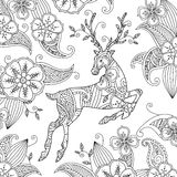 Coloring page with beautiful running deer and floral background. Goog quality coloring book for adult and children. Editable vector illustration Royalty Free Stock Photo