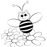 Coloring page - Bee and daisy Royalty Free Stock Photo