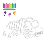 Coloring page with big truck Stock Images
