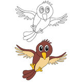 Coloring page bird. Bird coloring page for kids Vector Illustration