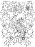 Coloring page with Bird in flowers, zentangle illustartion bird Royalty Free Stock Images