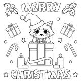 Coloring page `Merry Christmas`. stock illustration