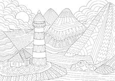 Coloring Page. Coloring Book for adults. Colouring pictures of light house among mountains,sun and rocks. Antistress freehand sket stock illustration