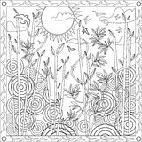 Coloring Page Book for Adults Square Format Bamboo Japanese Design Sunset Vector Illustration Royalty Free Stock Images