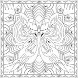 Coloring Page Book for Adults Square Format Butterfly Foliage Design Vector Illustration Stock Photo