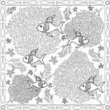 Coloring Page Book for Adults Square Format Coral Fish Underwater Design Vector Illustration Royalty Free Stock Images