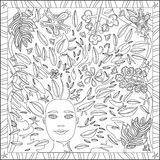 Coloring Page Book for Adults Square Format Face Foliage Design Vector Illustration Royalty Free Stock Images