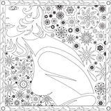 Coloring Page Book for Adults Square Format Face Girl Flower Design Vector Illustration Stock Photos