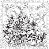 Coloring Page Book for Adults Square Format Floral Design Vector Illustration Stock Photography