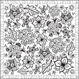 Coloring Page Book for Adults Square Format Floral Design Vector Illustration Stock Photos