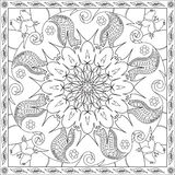 Coloring Page Book for Adults Square Format Floral Mandala Butterfly Design Vector Illustration Stock Image