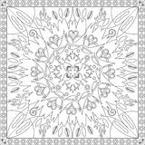 Coloring Page Book for Adults Square Format Floral Mandala Design Vector Illustration Royalty Free Stock Photos