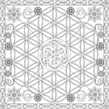 Coloring Page Book for Adults Square Format Flower of Life Mandala Design Vector Illustration. Coloring Page Book with Blank Spaces for Adults - Flower of Life Royalty Free Stock Photos