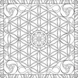 Coloring Page Book for Adults Square Format Flower of Life Mandala Design Vector Illustration Stock Images