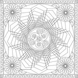 Coloring Page Book for Adults Square Format Geometric Flower Mandala Design Vector Illustration Royalty Free Stock Images