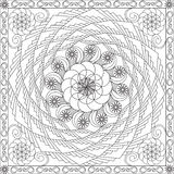 Coloring Page Book for Adults Square Format Geometric Spiral Flower Design Vector Illustration Stock Photography