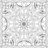 Coloring Page Book for Adults Square Format Mandala Flower Design Vector Illustration Royalty Free Stock Photography