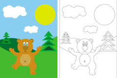 Coloring page book with bear and landscape Royalty Free Stock Photo