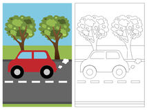 Coloring page book - car Stock Photography