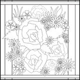 Coloring page book with decorative floral elements black and whi Stock Photos