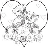 Coloring page book with decorative ornamental elements and cat k Royalty Free Stock Photos