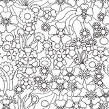 Coloring page book with decorative ornamental floral black and w Royalty Free Stock Image
