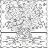 Coloring page book with decorative seamless  black and white pattern illustration Royalty Free Stock Photos