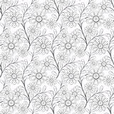 Coloring page book with decorative seamless ornamental elements pattern illustration Stock Photos