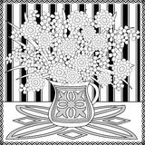 Coloring page book with decorative seamless ornamental elements pattern illustration Royalty Free Stock Image