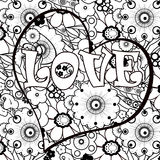 Coloring page book with decorative valentines day heart ornament Royalty Free Stock Photos