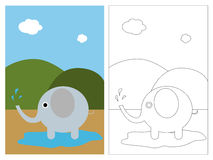 Coloring page book - elephant Royalty Free Stock Images