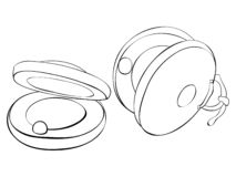 Coloring page,book the finger castanets image for children,line art style illustration for relaxing.