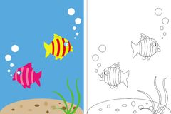 Coloring page book with fish underwater Stock Photography