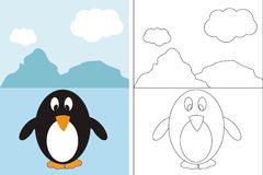 Coloring page book with funny penguin. This image represents a coloring page for children with funny penguin Stock Photo
