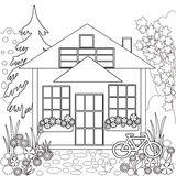 Coloring page book. Garden floral illustration black and white Stock Photos