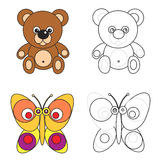 Coloring page book for kids - bear and butterfly. Cartoon image of a bear and butterfly, color and black and white versions, useful as coloring book for kids royalty free illustration