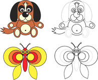 Coloring page book for kids - dog and butterfly. Cartoon image of a dog and butterfly, color and black and white versions, useful as coloring book for kids vector illustration