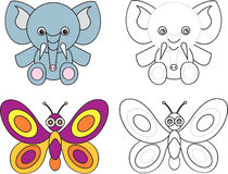 Coloring page book for kids - elephant butterfly. Cartoon image of a elephant and butterfly, color and black and white versions, useful as coloring book for kids royalty free illustration