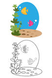 Coloring page book for kids - fish stock image