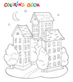 Coloring page book for kids - house with trees and moon. Stock Photography