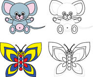 Coloring page book for kids - mouse and butterfly. Cartoon image of a mouse and butterfly, color and black and white versions, useful as coloring book for kids royalty free illustration