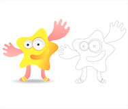 Coloring page book for kids - pretty monsters. Cartoon image of a pretty monster, color and black and white versions, useful as coloring book for kids. Others vector illustration