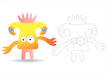 Coloring page book for kids - pretty monsters. Cartoon image of a pretty monster, color and black and white versions, useful as coloring book for kids. Others stock illustration