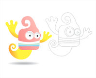 Coloring page book for kids - pretty monsters. Cartoon image of a pretty monster, color and black and white versions, useful as coloring book for kids. Others royalty free illustration