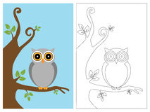 Coloring page book - owl. Cartoon illustration of a owl, color and black and white versions, useful as coloring book for kids.EPS file avaliable royalty free illustration