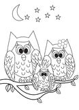 Coloring page book - owl stock illustration