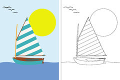 Coloring page book with sailing boat Stock Photos