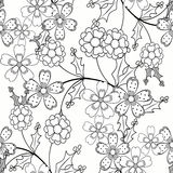 Coloring page book  seamless ornamental elements black and white pattern illustration Stock Photo